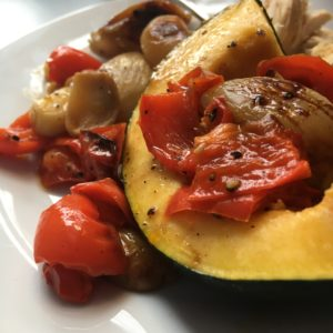 Roasted Squash with Shallots, Garlic, and Red Pepper