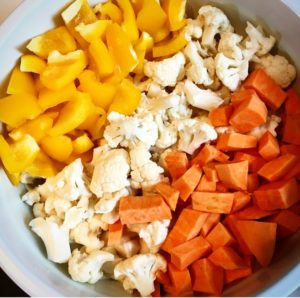 Turmeric Roasted Vegetables with Tahini Dressing